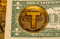 Tether coin concept used as a way of trading in Bitcoin and other alt coins with one dollar bill