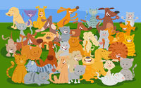 cartoon cats and dogs comic animal characters group