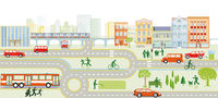 Streets with cars pedestrians and houses illustration