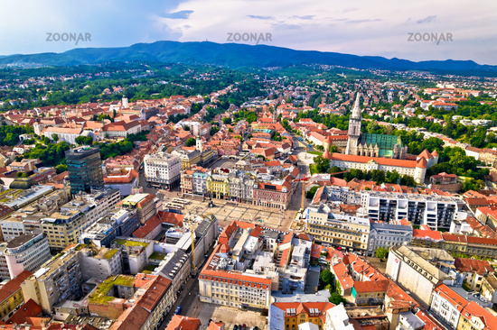 Zagreb historic city center and cathedral aerial view