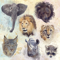 Digital Painting of animals background