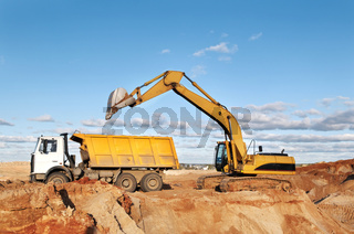 track-type loader excavator and tipper dumper