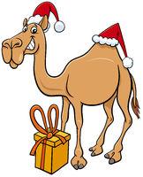 cartoon camel animal character with gift on Christmas time