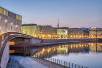 Early in the morning at the river Spree in Berlin with the Television tower in the back
