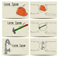 Set of vintage buisiness cards with faucet, hammer and helmet. Vector illustration EPS8