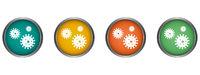 Virus hygiene vector icon metal edge, flat design round web button isolated
