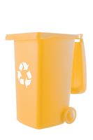 Plastic yellow trash can isolated on white background