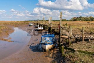 Boats in Thornham Old Harbour, Norfolk, England