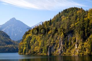 mountains on Alpsee lake