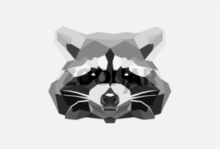 Low Poly Head of a Raccoon isolated on White Background.