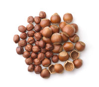 Top view of whole and shelled hazelnuts