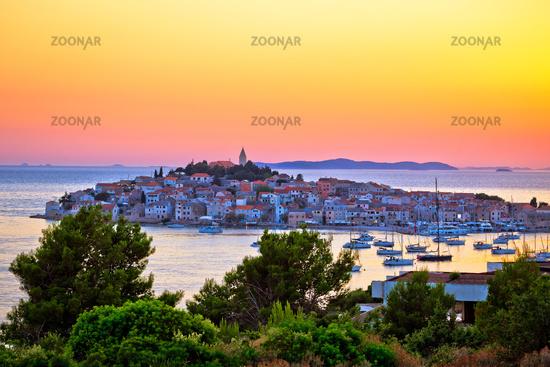 Primosten archipelago and blue Adriatic sea sunset view