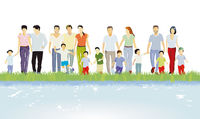 Families, parents and children, groups of people by the water