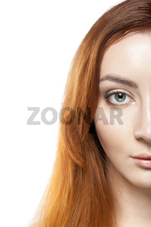 portrait of beautiful redhead young woman isolated on white background
