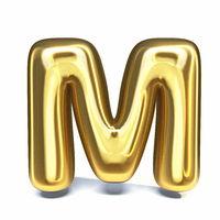 Golden font Letter M 3D