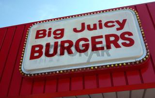 Hamburger Sign Restaurant Sign - Big juicy burgers