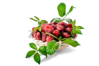 ripe raspberries with leaves on a white background with soft shadow