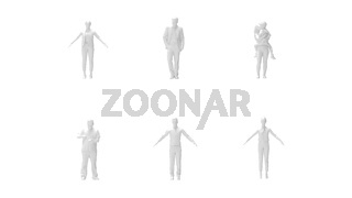3D rendering of a set of people isolated on a white background