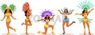 Brazil carnival dancers flat color vector faceless characters set. Latino ladies in carnival costumes. Women in festive outfits with flambotant headdresses cartoon illustrations on white background