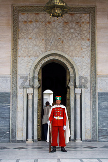Guard in front of the Mausoleum of Mohamed V in Rabat