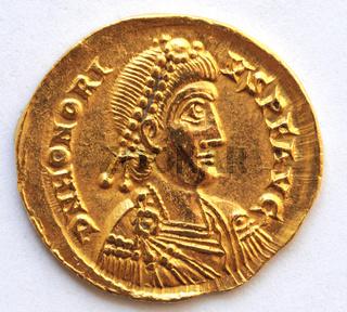 Goldmünze des Römischen Kaisers Honorius 393 - 423