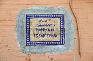 Schild eines Hammam, Badeanstalt, Marrakesch, Marokko, Afrika