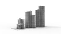 3D rendering of a 3 high rising buildings isolated on white background