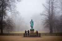 Foggy day in Frederiksberg Gardens in Copenhagen