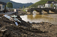 Destroyed Nepomuk bridge over the Ahr river, flood disaster 2021, Rech, Germany, Europe