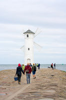 Holidaymakers at the Mühlenbake, the landmark of Swinoujscie on the Polish Baltic coast