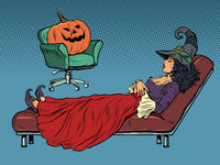 halloween holiday, psychotherapy session, pumpkin psychologist treats a witch patient