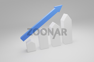 Puristic house shapes with a blue upswing arrow, 3d rendering