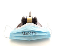 Court legal gavel and facemask with Mandate text -- Coronavirus mask mandate concept