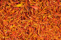 background - many dried safflower petals