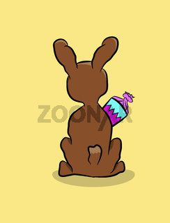 Backside of a rabbit with a candy cone