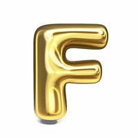 Golden font Letter F 3D
