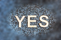 Word YES on sand_oval