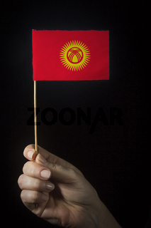 Hand with flag of Kyrgyzstan