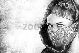 Illustration art, woman dressed in Arab costume, desert in the background