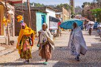 Women return from the morning Mass, Aksum Ethiopia, Africa