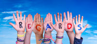 Children Hands Building Word Regards, Blue Sky