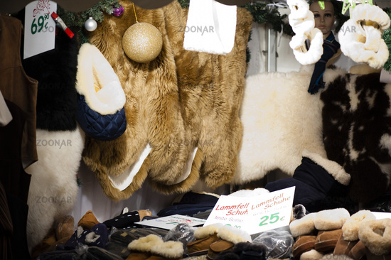 The sheepskin stand at the Christmas market