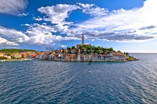 Town of Rovinj historic peninsula view, famous tourist destination in Istria