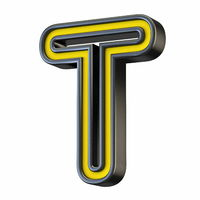Yellow black outlined font Letter T 3D