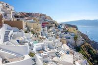 Buildings on the Terraces of Santorini on a Sunny Summer Day