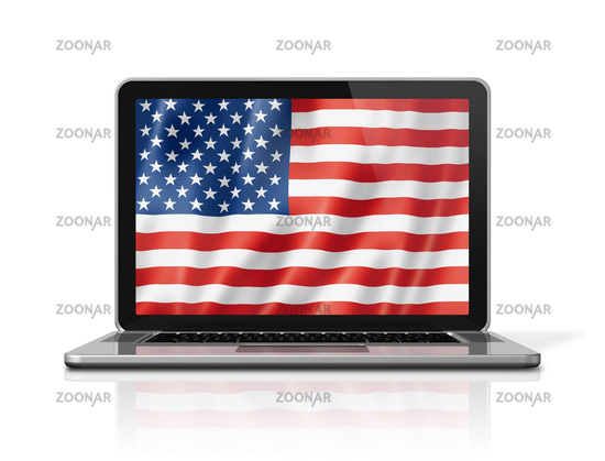 United States flag on laptop screen isolated on white. 3D illustration