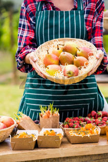 Midsection of woman holding basket with pears