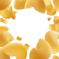 Italian pasta levitating on a white background