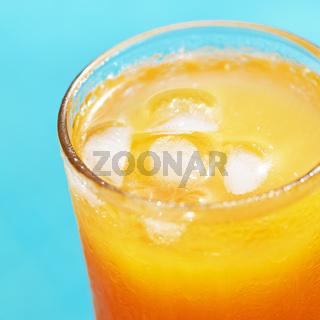 Closeup of a glass of orange juice