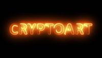 Luminous inscription cryptoart abstract background.